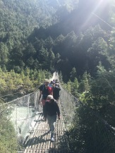 One of the long suspension bridges over the River